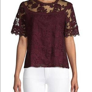 Laundry maroon lace top new with tags size medium